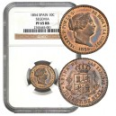 VENDIDA. 1854. ISABEL II. 25 cents de Real. SEGOVIA. PROOF. NGC PF 65 RB
