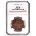 1848. Isabel II. Medio Real. Madrid. FDC. NGC PF 65 RB
