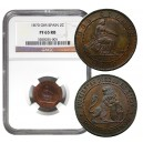 ESPAÑA SPAIN 1870 I REPUBLICA. 2 céntimos PROOF NGC PF 65 BN