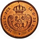 1853. ISABEL II. 1/2 Décima de Real. NGC MS65 RB